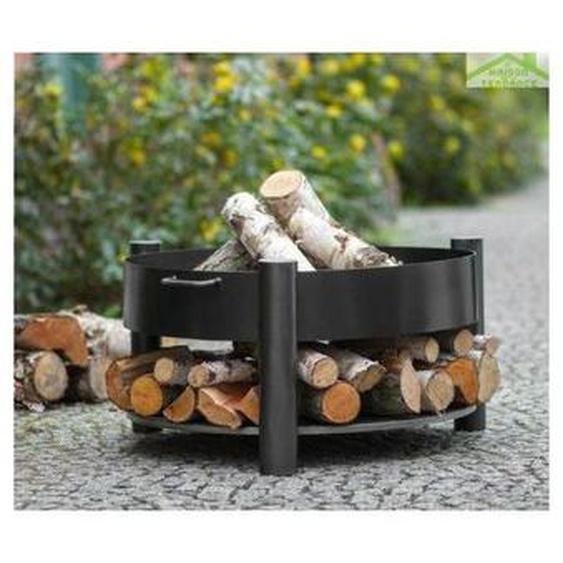 Cook King - Brasero de jardin SOLAFA avec range bois en acier noir - Avec couvercle - Avec couvercle