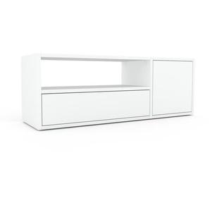 Buffet bas - blanc, design contemporain, avec porte blanc et tiroir blanc - 116 x 41 x 35 cm