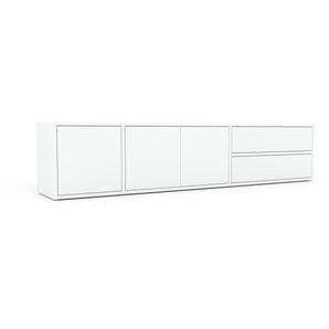 Buffet bas - blanc, design contemporain, avec porte blanc et tiroir blanc - 190 x 41 x 35 cm