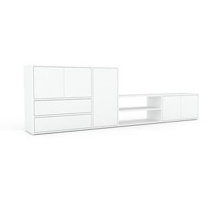 Buffet bas - Blanc, design contemporain, avec porte Blanc et tiroir Blanc - 265 x 80 x 35 cm