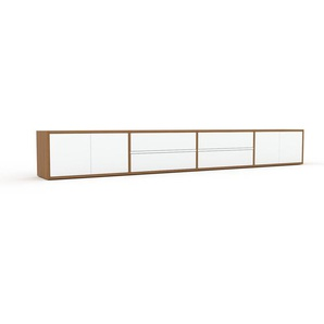Buffet bas - chêne, design contemporain, avec porte blanc et tiroir blanc - 301 x 41 x 35 cm