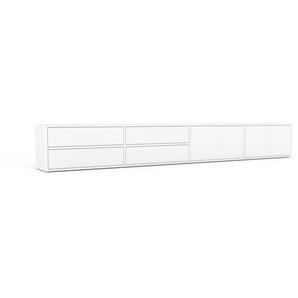 Buffet bas - blanc, design contemporain, avec porte blanc et tiroir blanc - 301 x 41 x 35 cm