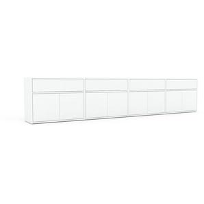 Buffet bas - blanc, design contemporain, avec porte blanc et tiroir blanc - 301 x 61 x 35 cm