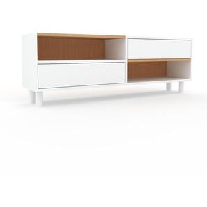Buffet bas - Blanc, modèle tendance, rangements bas sophistiqué, avec tiroir Blanc - 152 x 53 x 35 cm, modulable