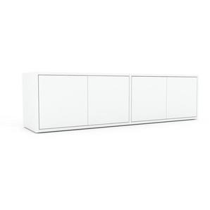 Buffet bas - blanc, pièce de caractère, rangements bas de luxe, avec porte blanc - 152 x 41 x 35 cm, personnalisable