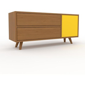 Buffet bas - Chêne, design contemporain, avec porte Jaune et tiroir Chêne - 116 x 53 x 35 cm
