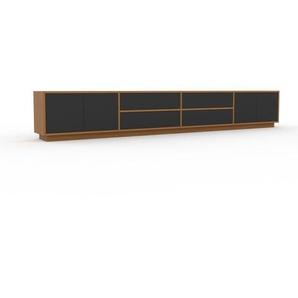 Buffet bas - chêne, design contemporain, avec porte anthracite et tiroir anthracite - 301 x 47 x 35 cm