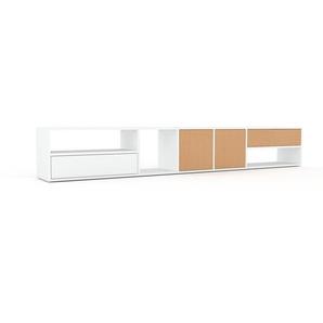 Buffet bas - Blanc, design contemporain, avec porte Hêtre et tiroir Blanc - 267 x 41 x 35 cm