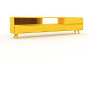 Buffet bas - Jaune, modèle tendance, rangements bas sophistiqué, avec tiroir Jaune - 226 x 53 x 35 cm, modulable