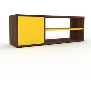 Buffet bas en noyer, bois massif, aspect intemporel et naturel, de qualité - 116 x 41 x 35 cm