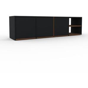 Buffet bas - noir, pièce de caractère, rangements bas de luxe, avec porte noir - 156 x 41 x 35 cm, personnalisable