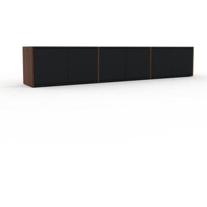 Buffet bas en noyer, bois massif, aspect intemporel et naturel, de qualité - 226 x 41 x 35 cm