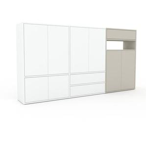 Buffet - blanc, moderne, avec porte blanc et tiroir blanc - 226 x 118 x 35 cm