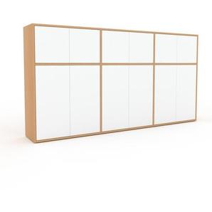Buffet en hêtre, bois massif, aspect naturel, enfilade de qualité - 226 x 118 x 35 cm
