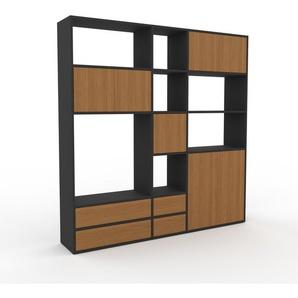 Buffet - Anthracite, moderne, avec porte Chêne et tiroir Chêne - 190 x 195 x 35 cm