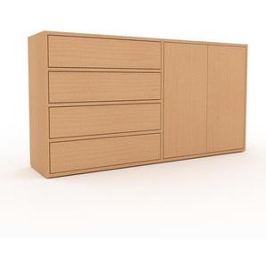 Buffet en hêtre, bois massif, aspect naturel, enfilade de qualité - 152 x 80 x 35 cm