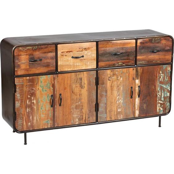 Buffet industriel  métal et bois aspect vieilli 4 portes 4 tiroirs