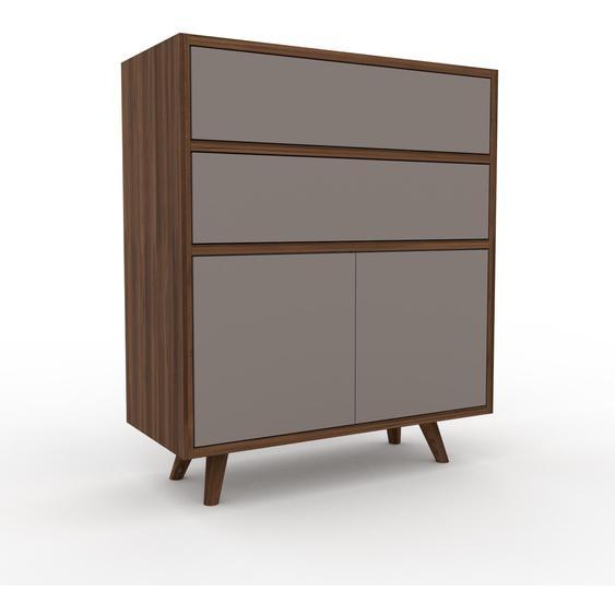 Buffet - Noyer, moderne, avec porte Gris et tiroir Gris - 77 x 91 x 35 cm