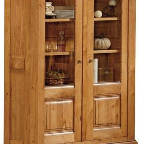 Buffet vaisselier chêne 2 portes vitrées
