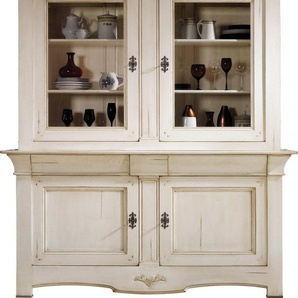 Buffet vaisselier chêne massif 2 corps 2 portes teinté blanc
