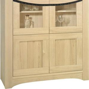 Buffet vaisselier chêne massif blanchi 4 portes