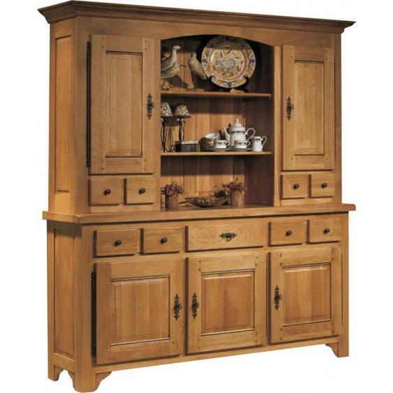 Buffet vaisselier chêne massif ciré 5 portes 5 tiroirs