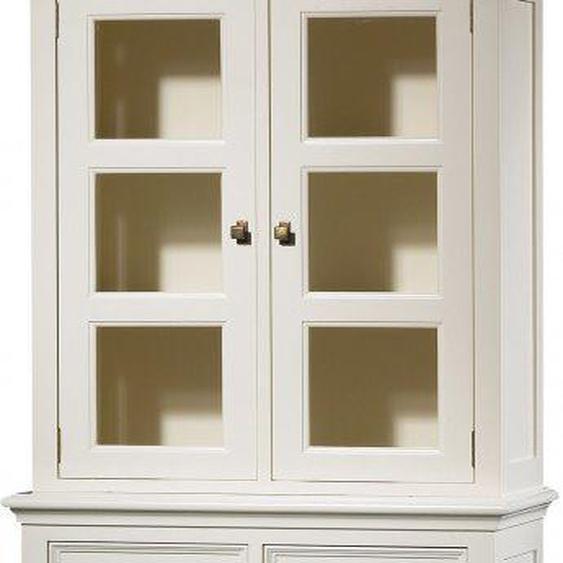 Buffet vaisselier hêtre laque blanc 3 étagères 4 portes 2 tiroirs pieds galbés