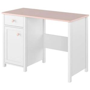 Bureau rose pour fille Luna - Blanc
