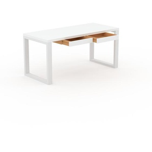 Bureau - Blanc, moderne, table de travail, avec tiroir Blanc - 160 x 75 x 70 cm, modulable