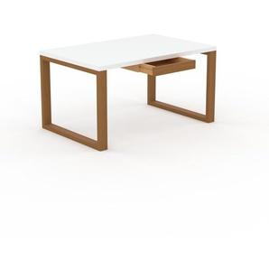 Bureau - Blanc, moderne, table de travail, avec tiroir Chêne - 140 x 75 x 90 cm, modulable