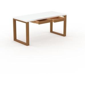 Bureau - Blanc, moderne, table de travail, avec tiroir Chêne - 160 x 75 x 70 cm, modulable