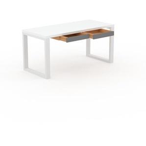 Bureau - Blanc, moderne, table de travail, avec tiroir Gris - 160 x 75 x 70 cm, modulable