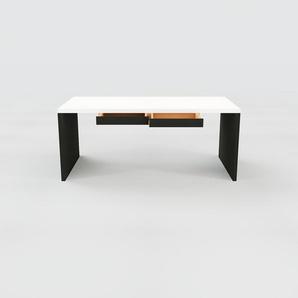Bureau - Blanc, moderne, table de travail, avec tiroir Noir - 180 x 75 x 90 cm, modulable