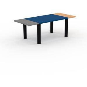 Bureau - Bleu, design contemporain, table de travail, fonctionnelle - 220 x 76 x 90 cm, modulable