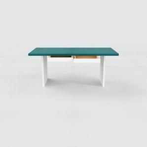 Bureau - Bleu, moderne, table de travail, avec tiroir Blanc - 180 x 75 x 90 cm, modulable