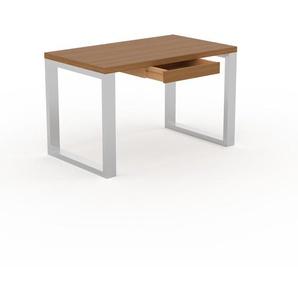 Bureau - Chêne, design industriel, table de travail de qualité, avec pieds en métal - 120 x 75 x 70 cm, personnalisable