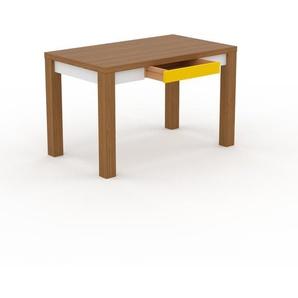 Bureau - Chêne, design, table de travail raffinée, avec tiroir Jaune et cadre Blanc - 120 x 76 x 70 cm, modulable