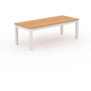 Bureau - Hêtre, contemporain, table de travail sophistiquée, avec cadre Blanc - 220 x 76 x 90 cm, modulable