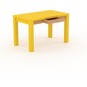 Bureau - Jaune, design, table de travail raffinée, avec tiroir Hêtre et cadre Jaune - 120 x 76 x 70 cm, modulable