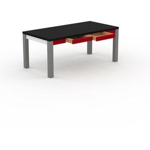 Bureau - Noir, design, table de travail raffinée, avec tiroir Rouge et cadre Blanc - 180 x 76 x 90 cm, modulable