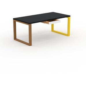 Bureau - Noir, moderne, table de travail, avec tiroir Blanc - 180 x 75 x 90 cm, modulable