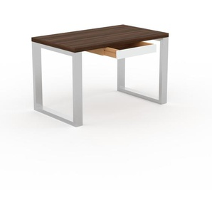 Bureau - Noyer, design industriel, table de travail de qualité, avec pieds en métal - 120 x 75 x 70 cm, personnalisable