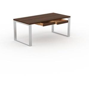 Bureau - Noyer, design industriel, table de travail de qualité, avec pieds en métal - 180 x 75 x 90 cm, personnalisable