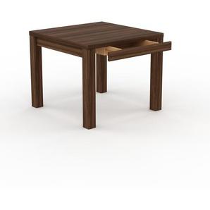 Bureau - Noyer, design, table de travail raffinée, avec tiroir Noyer et cadre Noyer - 90 x 76 x 90 cm, modulable
