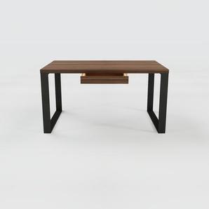 Bureau - Noyer, moderne, table de travail, avec tiroir Noyer - 140 x 75 x 90 cm, modulable