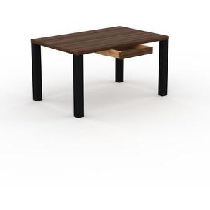 Bureau - Noyer, moderne, table de travail, avec tiroir Noyer - 140 x 76 x 90 cm, modulable