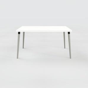 Bureau scandinave - Blanc, design moderne, table de travail nordique, avec pieds inclinés et épurés - 140 x 75 x 90 cm, modulable