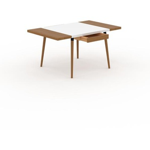 Bureau scandinave - Blanc, design moderne, table de travail nordique, avec pieds inclinés et épurés - 150 x 75 x 90 cm, modulable