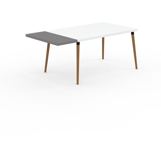 Bureau scandinave - Blanc, design moderne, table de travail nordique, avec pieds inclinés et épurés - 180 x 75 x 90 cm, modulable