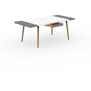 Bureau scandinave - Blanc, design moderne, table de travail nordique, avec pieds inclinés et épurés - 200 x 75 x 90 cm, modulable